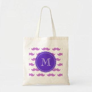 Modelo del bigote de la lila, monograma blanco púr bolsas