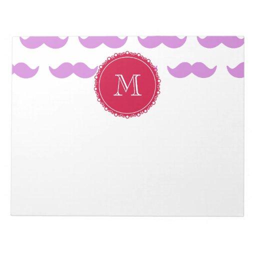 Modelo del bigote de la lila, monograma blanco roj blocs de notas