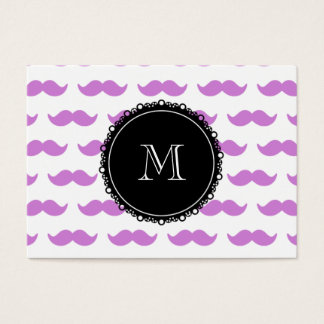 Modelo del bigote de la lila, monograma blanco tarjeta de negocios