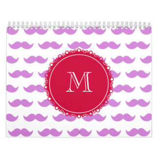 Modelo del bigote de la lila, monograma blanco calendario