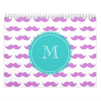 Modelo del bigote de la lila, monograma del blanco calendarios de pared