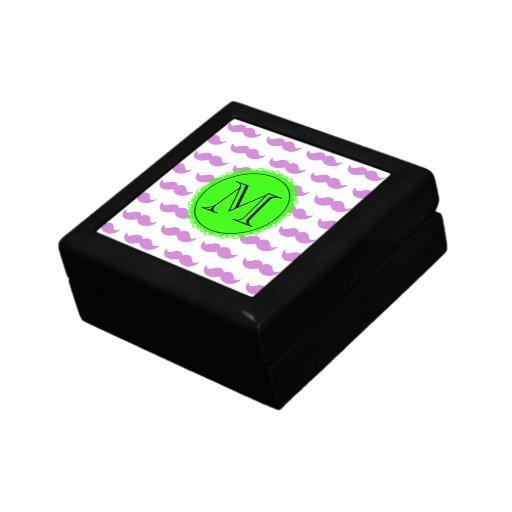 Modelo del bigote de la lila, monograma negro verd joyero cuadrado pequeño