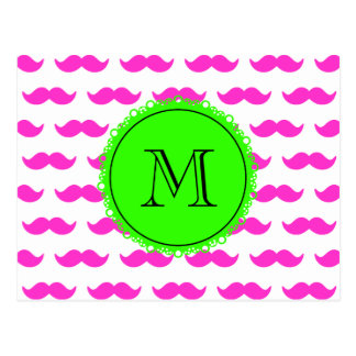 Modelo del bigote de las rosas fuertes, monograma  tarjetas postales