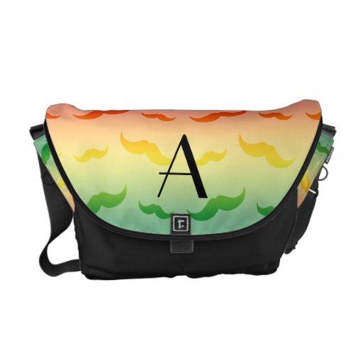 Modelo del bigote del arco iris del monograma bolsa de mensajeria