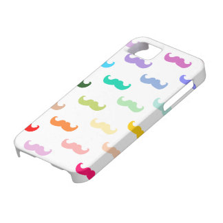 Modelo del bigote del arco iris en blanco iPhone 5 carcasas