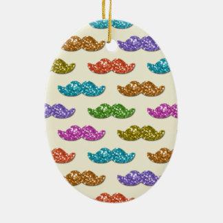 Modelo del bigote del brillo adorno navideño ovalado de cerámica