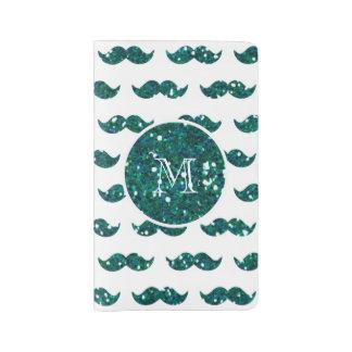 Modelo del bigote del brillo de la turquesa su cuaderno grande moleskine