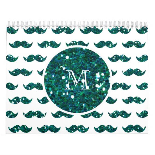 Modelo del bigote del brillo de la turquesa su mon calendario