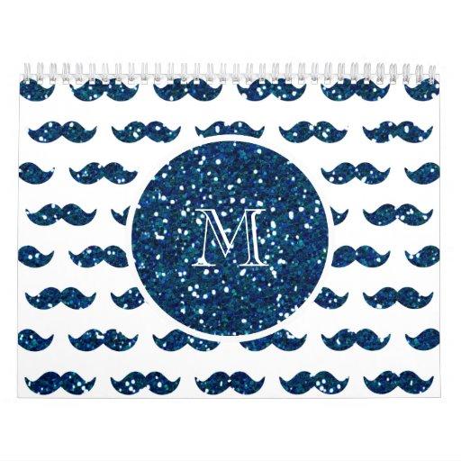 Modelo del bigote del brillo de los azules marinos calendario