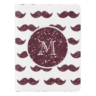 Modelo del bigote del brillo del vino su monograma cuaderno extra grande moleskine