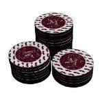Modelo del bigote del brillo del vino su monograma fichas de póquer