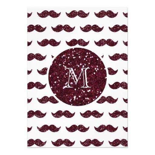 Modelo del bigote del brillo del vino su monograma comunicados personales