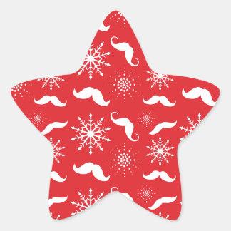 Modelo del bigote del día de fiesta pegatina en forma de estrella