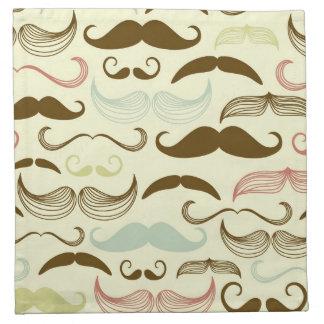 Modelo del bigote, estilo retro 4 servilletas imprimidas