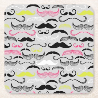 Modelo del bigote, estilo retro posavasos personalizable cuadrado