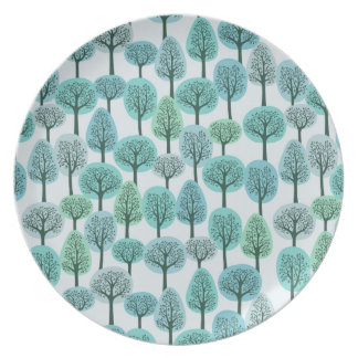 Modelo del bosque del invierno platos