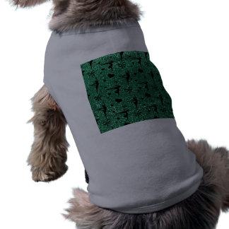 Modelo del brillo de la gimnasia de la verde menta playera sin mangas para perro