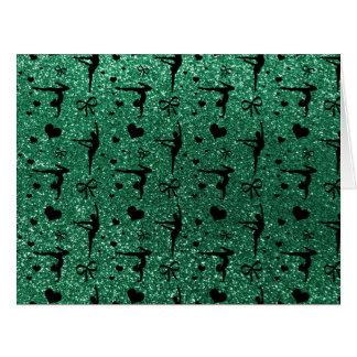 Modelo del brillo de la gimnasia de la verde menta tarjeta de felicitación grande