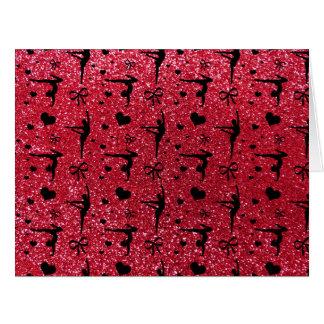 Modelo del brillo de la gimnasia del rojo carmesí tarjeta de felicitación grande