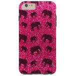 Modelo del brillo del elefante rosado de rosa funda de iPhone 6 plus tough