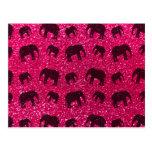 Modelo del brillo del elefante rosado de rosa tarjeta postal
