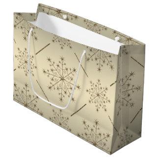 Modelo del brillo del oro del copo de nieve del bolsa de regalo grande