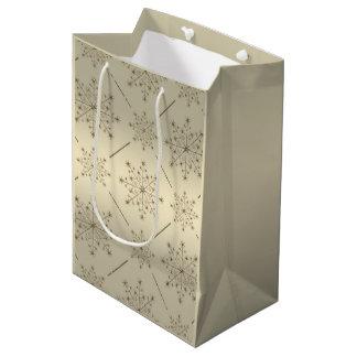 Modelo del brillo del oro del copo de nieve del bolsa de regalo mediana