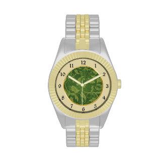 Modelo del brocado del oro verde relojes