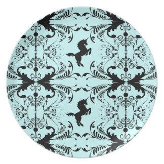 Modelo del caballo del unicornio del negro azul platos