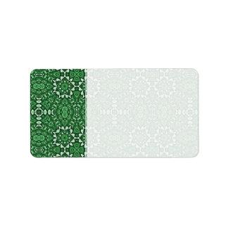 Modelo del caleidoscopio del verde esmeralda etiqueta de dirección