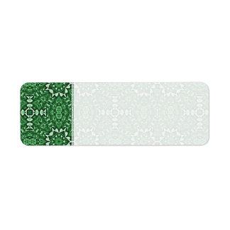 Modelo del caleidoscopio del verde esmeralda etiquetas de remite