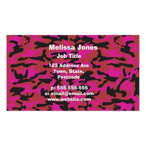 Modelo del camo de las rosas fuertes tarjetas de visita