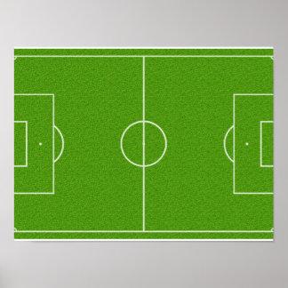 Modelo del campo de fútbol en hierba póster