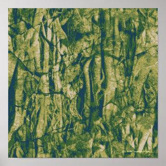 Modelo del camuflaje de la corteza de árbol poster
