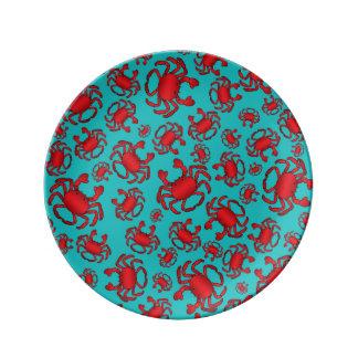 Modelo del cangrejo de la turquesa platos de cerámica