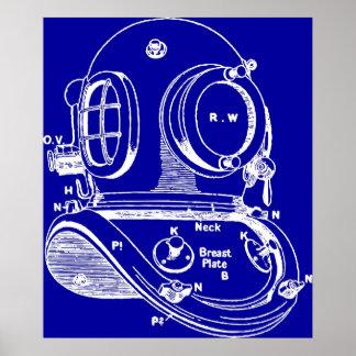 Modelo del casco de la zambullida póster