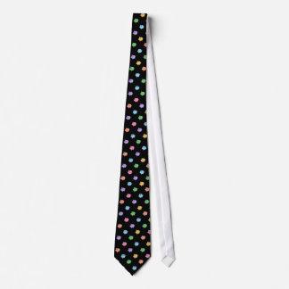 Modelo del cerdo del arco iris en negro corbata personalizada