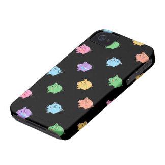 Modelo del cerdo del arco iris en negro iPhone 4 carcasas