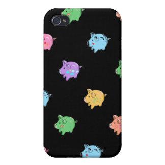 Modelo del cerdo del arco iris en negro iPhone 4/4S carcasas