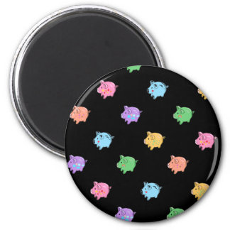 Modelo del cerdo del arco iris en negro imanes de nevera