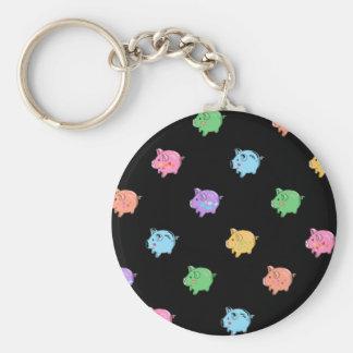Modelo del cerdo del arco iris en negro llaveros personalizados