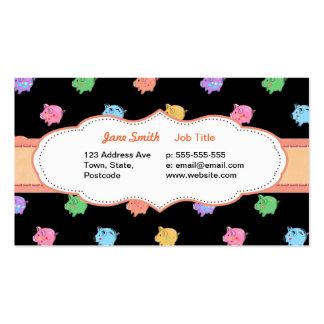 Modelo del cerdo del arco iris en tarjeta de visit plantillas de tarjetas de visita