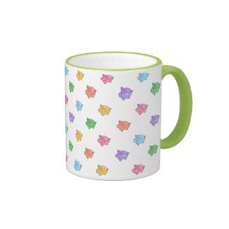 Modelo del cerdo del arco iris tazas de café