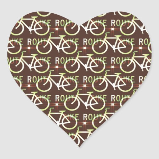 Modelo del ciclista de la bici de Fixie de la ruta Pegatina En Forma De Corazón