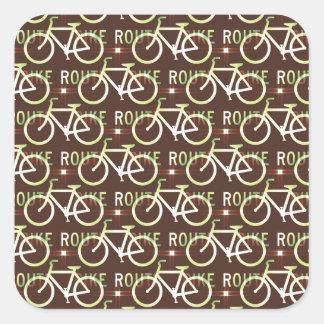 Modelo del ciclista de la bici de Fixie de la ruta Pegatina Cuadrada