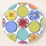 Modelo del círculo con las flores .JPEG Posavaso Para Bebida