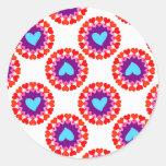 modelo del círculo del corazón pegatina redonda