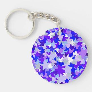 Modelo del confeti de las estrellas del azul y de  llavero redondo acrílico a doble cara