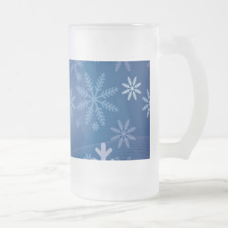Modelo del copo de nieve del invierno taza de cristal
