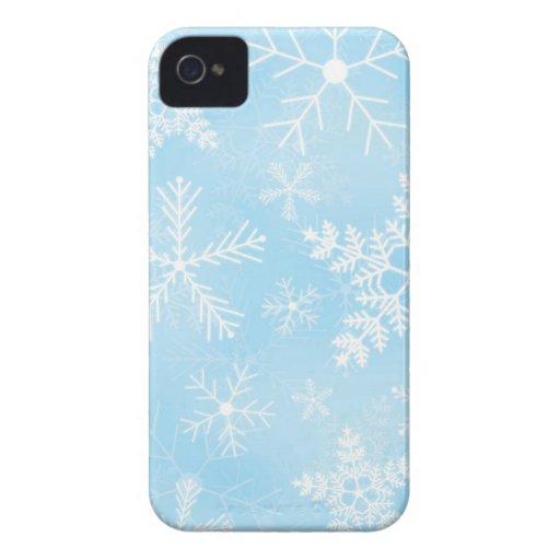 Modelo del copo de nieve del navidad iPhone 4 fundas